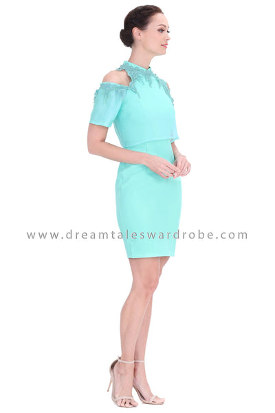 DT1295 Cold Shoulder 3D Lace Oriental Cheongsam Dress -  Green