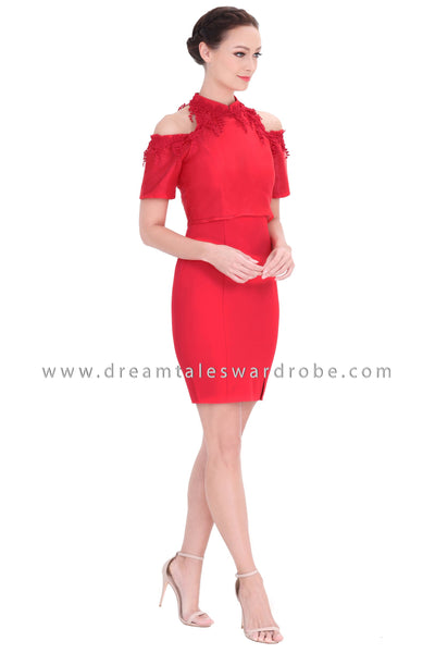DT1295 Cold Shoulder 3D Lace Oriental Cheongsam Dress - Red