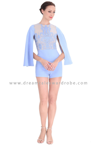 DT1296 Cape Sleeve Baroque Playsuit -  Powder Blue