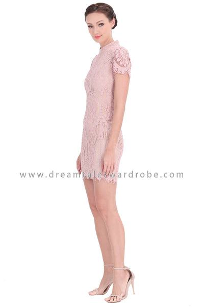 DT1297 Mandarin Collar Lace Cheongsam Dress - Pink