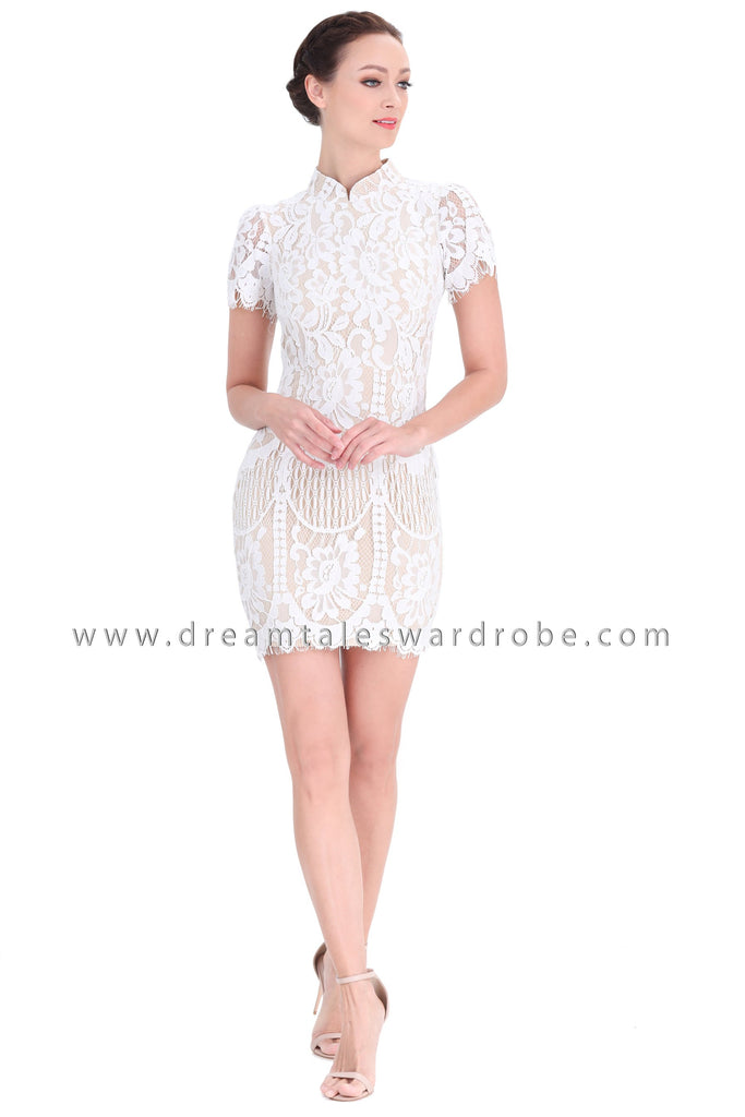 DT1297 Mandarin Collar Lace Cheongsam Dress -  White