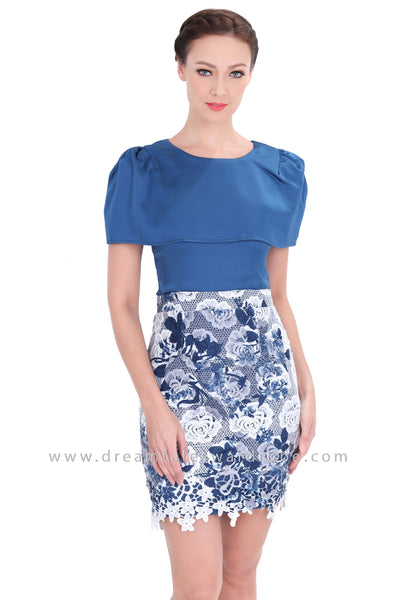 DT1298 Cape Style Floral Contrast Pencil Dress -  Blue