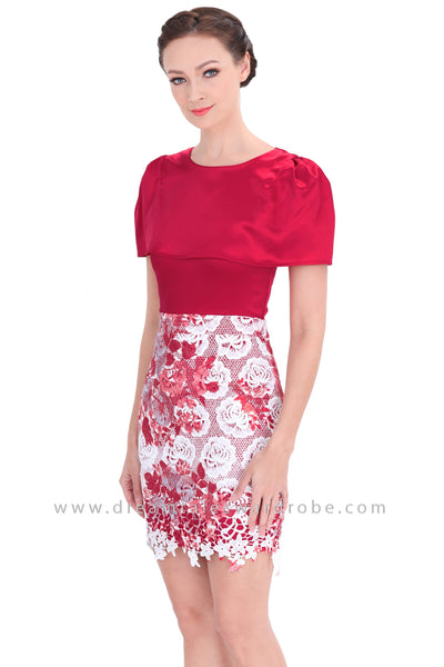 DT1298 Cape Style Floral Contrast Pencil Dress - Red