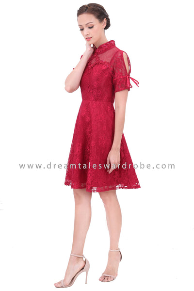 DT1300 Oriental Lace Cheongsam Dress -  Maroon