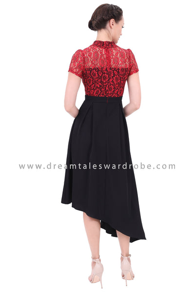DT1301 Dramatic Asymmetric Mod Cheongsam Dress - Red