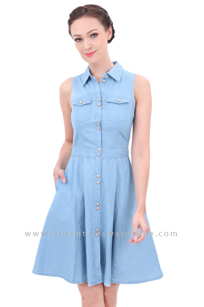 56c74fa00081d DT1304 Denim Fit   Flare Dress - Light Blue – DreamTales Wardrobe