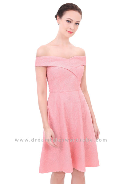 DT1305 Sweetheart Off the Shoulder Textured Dress - Peach