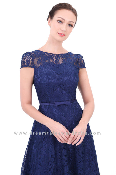 DT1307 Lace Evening Prom Dress with Bow Details -  Blue