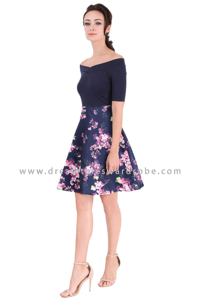 DT1310 Wide Neck Floral Contrast Dress -  Blue