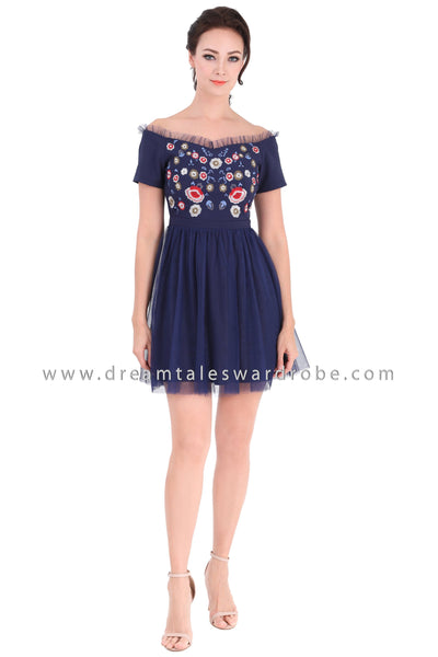 DT1311 Embroidered Floral Mesh Sweetheart Dress - Blue
