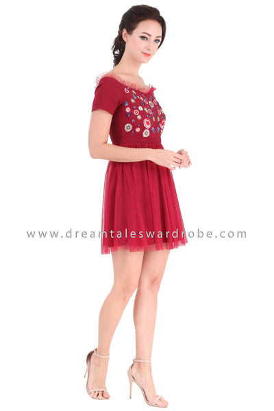DT1311 Embroidered Floral Mesh Sweetheart Dress -  Maroon