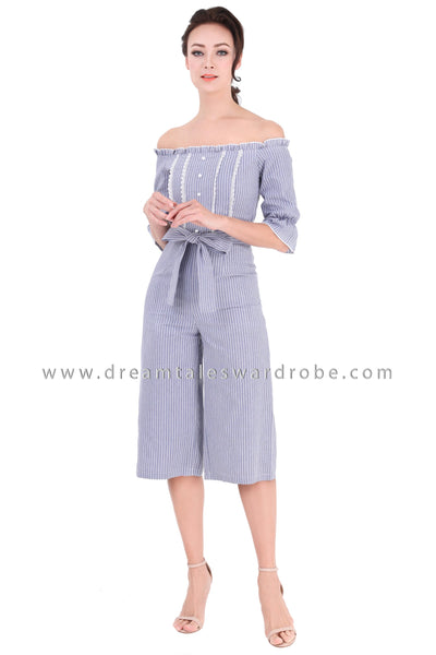 DT1312 Frilly Off the Shoulder Stripe Jumpsuit - Blue Gray