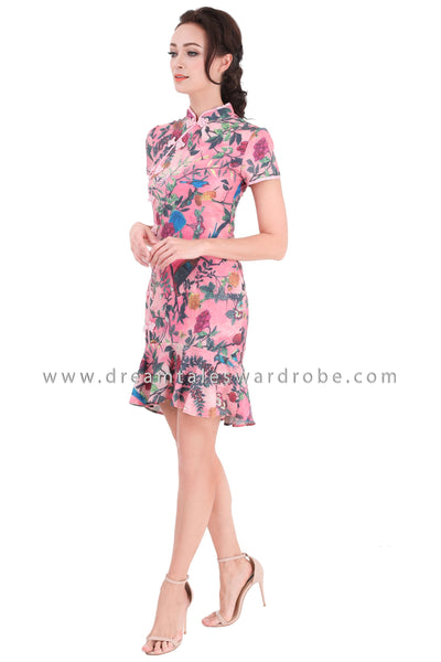 DT1314 Drop Hem Cheongsam Dress -  Pink