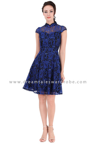 DT1316 Floral Lace Cap Sleeves Cheongsam Dress - Blue