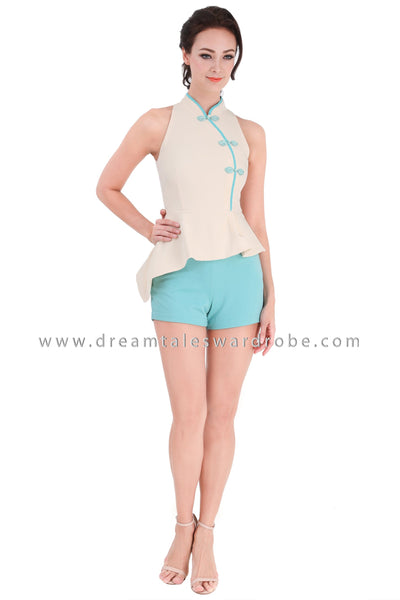 DT1319 Colour Block Asymmetric Cheongsam Playsuit -  Cream