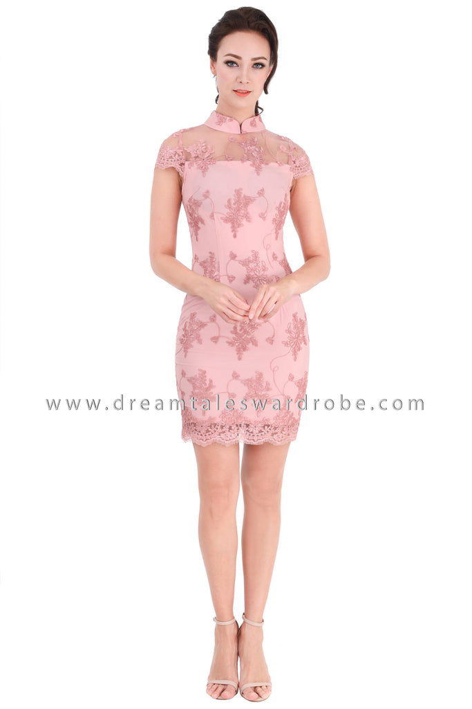 DT1322 Romantic Lace Bodycon Cheongsam Dress -  Light Pink