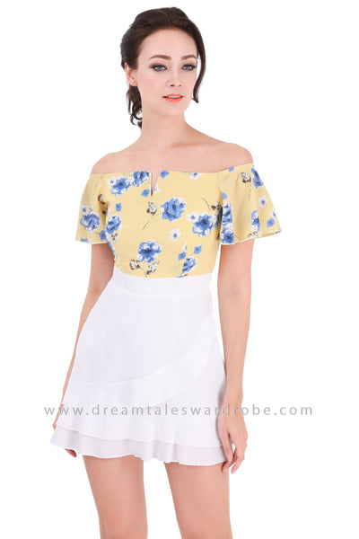 DT1323 Floral Off The Shoulder Ruffle Foldover Dress -  Yellow
