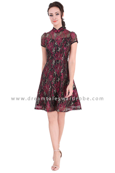 DT1328 Lace Cheongsam Dress -  Pink