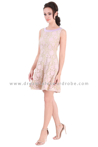 DT1329 Pleated Neckline details Lace Dress -  Pink