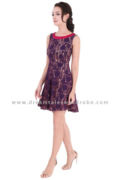 DT1329 Pleated Neckline details Lace Dress - Purple