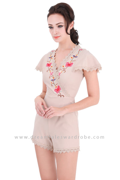 DT1330 Flare Sleeve Floral Embroidered Playsuit -  Khaki