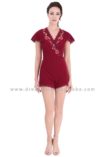 DT1330 Flare Sleeve Floral Embroidered Playsuit - Maroon