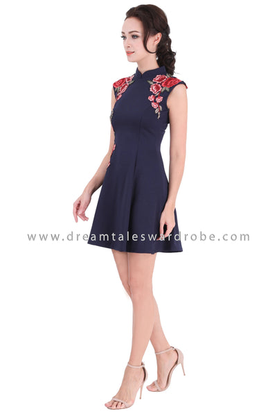 DT1333 Oriental Rose Sleeveless Skater Cheongsam Dress - Blue
