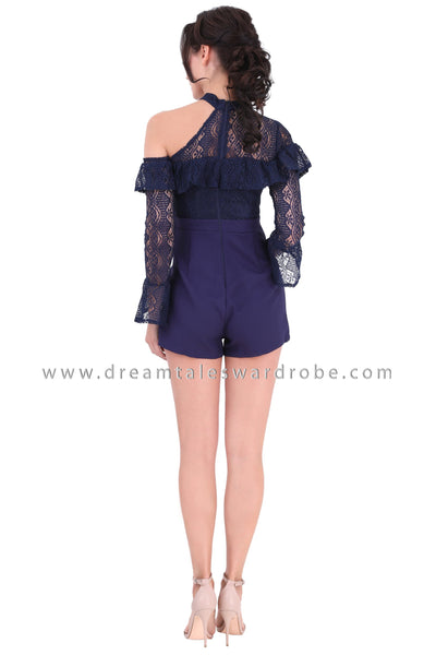 DT1341 One Shoulder Lace Contrast Playsuit -  Blue