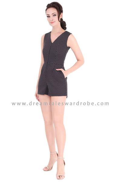 DT1342 Polka Dot V Neck Playsuit - Black