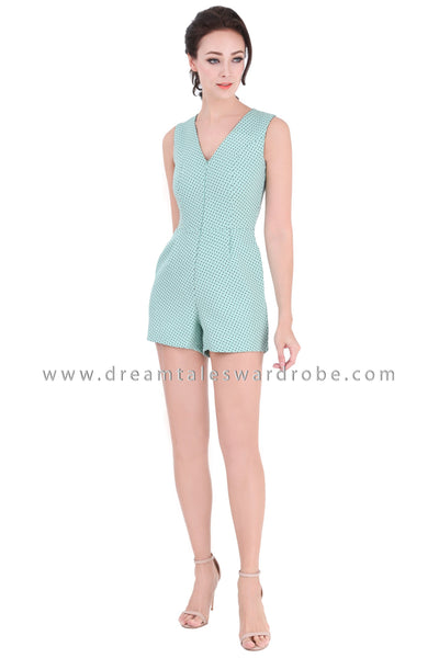 DT1342 Polka Dot V Neck Playsuit -  Mint Green