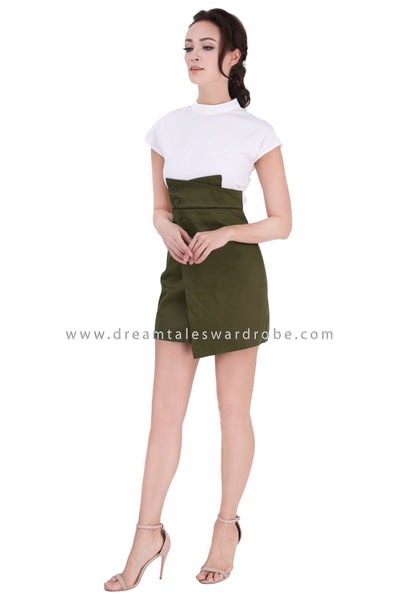 DT1344 Button Asymmetric High Waist Dress -  Green