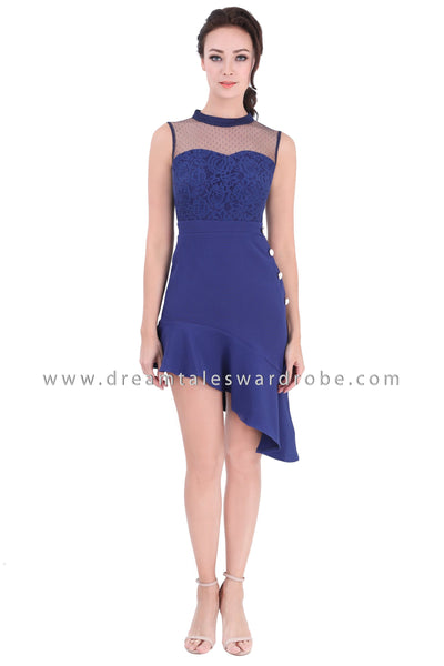 DT1346 Dramatic Asymmetric Hem Evening Dress - Blue