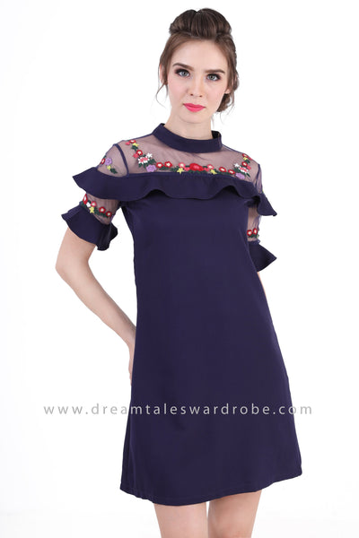DT1352 Embroidered Ruffles A Line Dress -  Blue