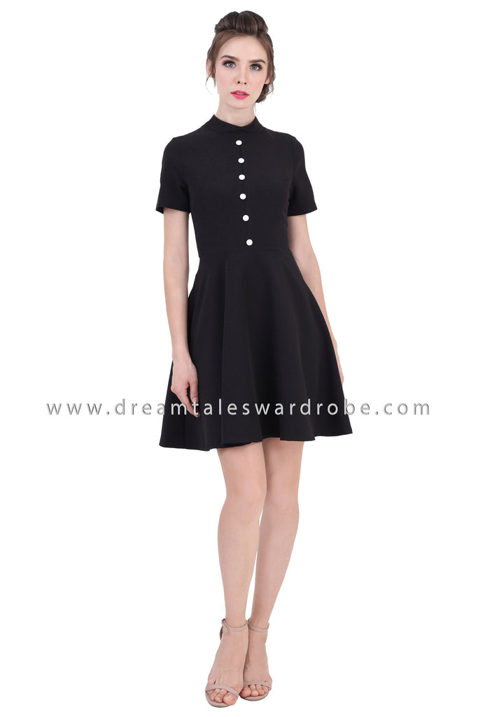 DT1355 Front Button High Neck Flared Dress - Black