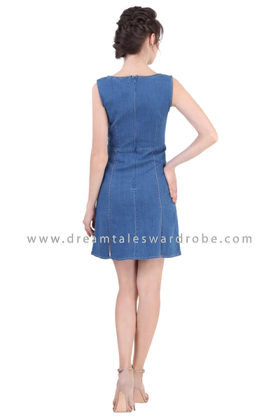 DT1356 Contrast Stitching Sleeveless Denim Dress -  Medium Blue