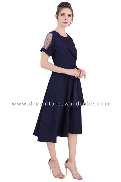DT1358 Mesh Shoulder Drape Midi Dress -  Blue