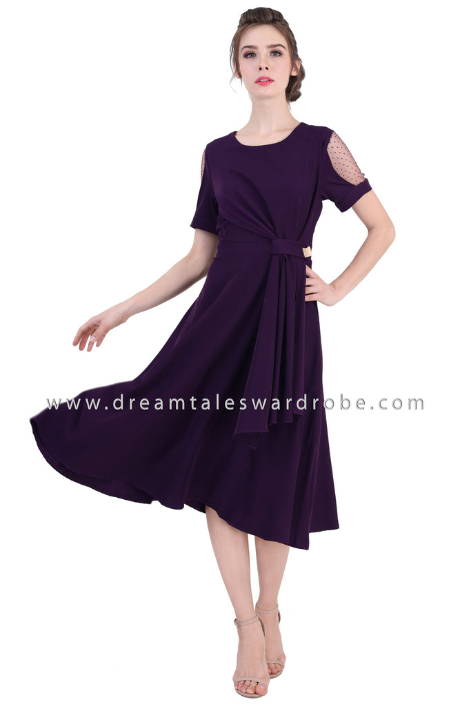 DT1358 Mesh Shoulder Drape Midi Dress - Purple