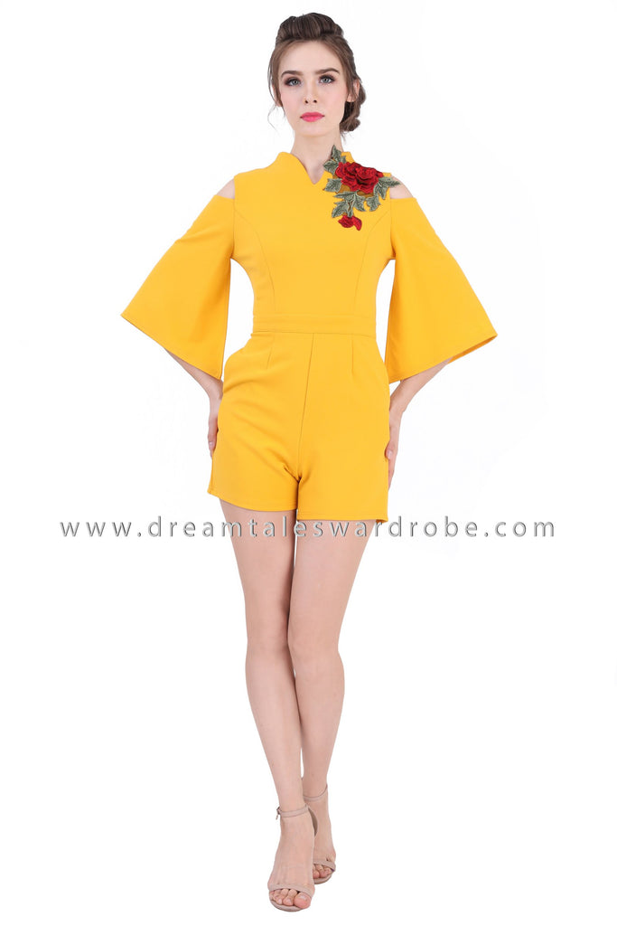 DT1360 Flared Split Sleeve Floral Applique Playsuit - Yellow