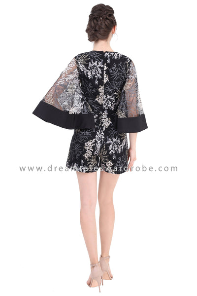 DT1362 Statement Lace Party Playsuit - Black