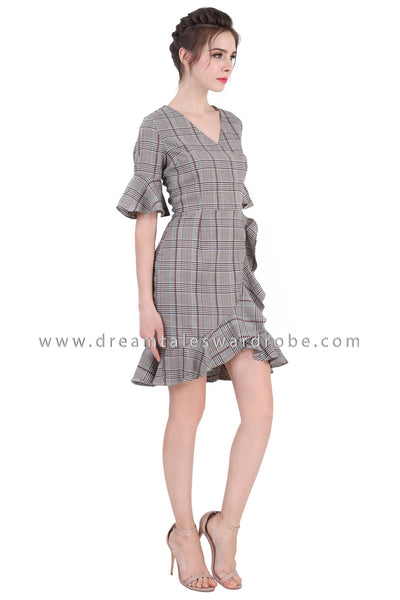 DT1363 V Neck Check Ruffles Dress -  Checkered