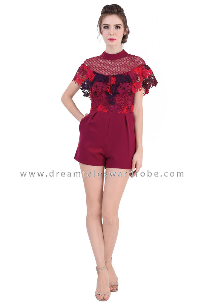 DT1364 Crochet Lace High Neck Playsuit  - Maroon