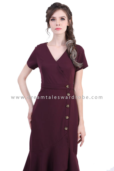 DT1368 Side Button Ruffle Hem Wrap Dress - Purple