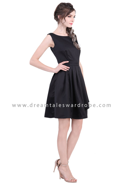 DT1370 Boat Neck Sleeveless Pleated Dress - Black