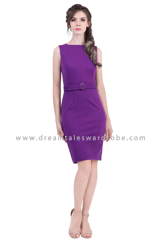DT1373 Boatneck Bodycon Dress -  Purple