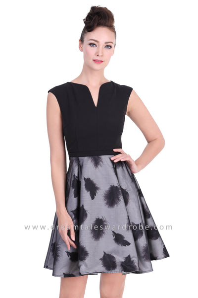 DT1376 Feather Contrast Sleeveless Ballerina Dress - Black