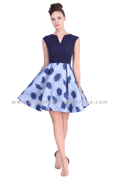 DT1376 Feather Contrast Sleeveless Ballerina Dress - Blue