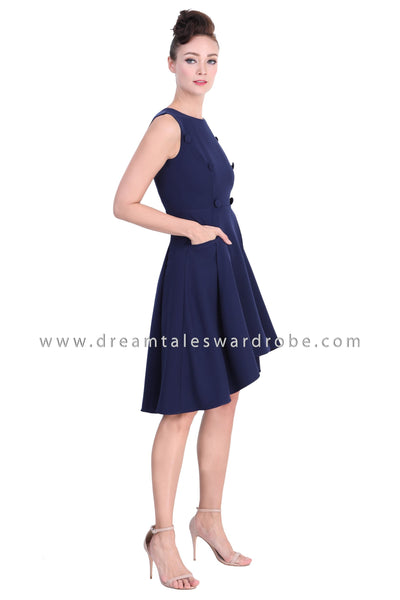 DT1379 Retro Button High Low Dress - Blue