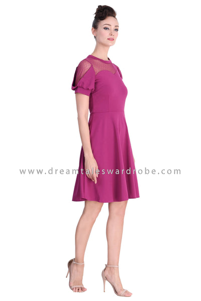 DT1380 Mesh Sweetheart Neckline Party Dress -  Purple