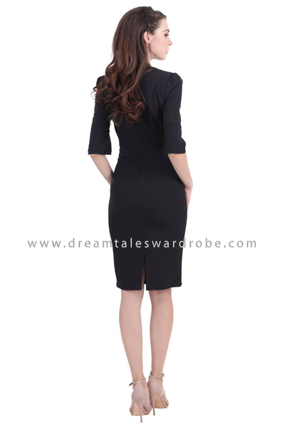 DT1384 Bell Sleeve Pencil Dress - Black