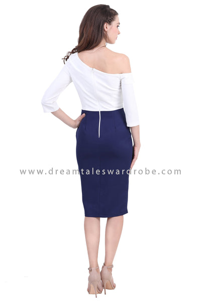 DT1388 Asymmetrical Shoulder Colourblock Midi Dress - Blue